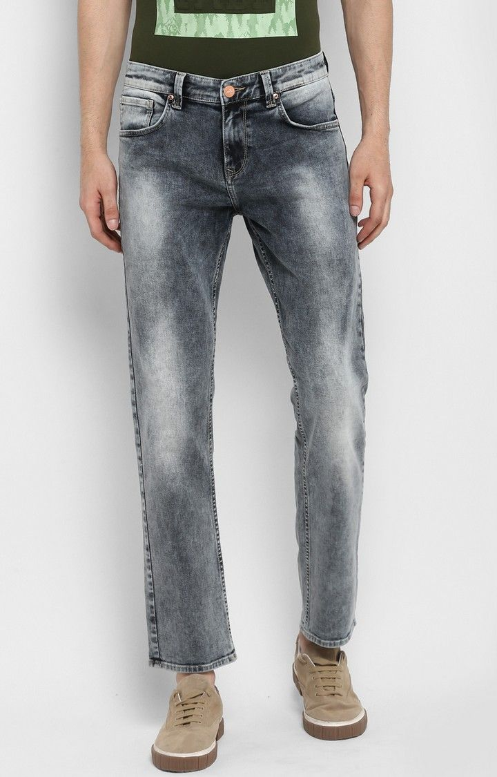 Mid Grey Solid Regular Fit Jeans