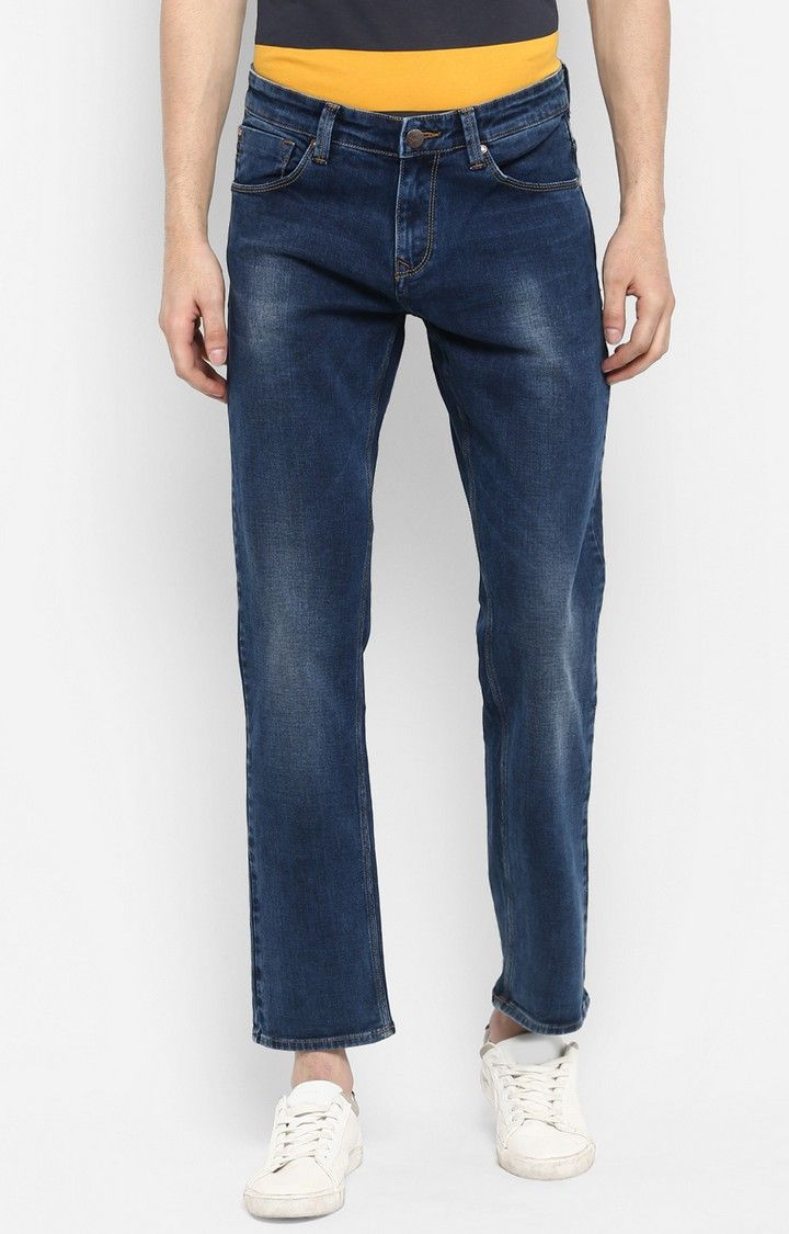 Dark Blue Solid Regular Fit Jeans