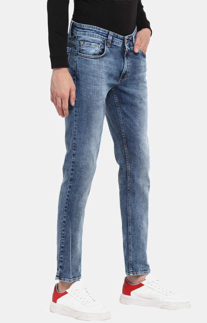 Mid Blue Solid Slim Thigh Narrow Leg Fit Jeans
