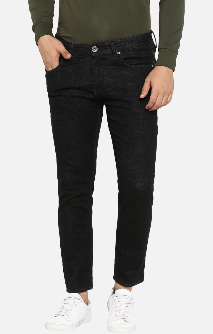 Black Solid Slim Thigh Ankle Length Fit Jeans