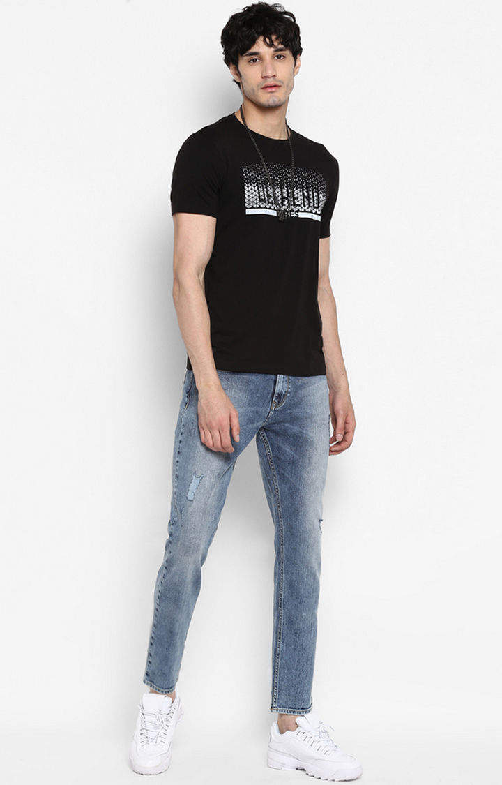 Mid Blue Ripped Slim Thigh Ankle Length Fit Jeans