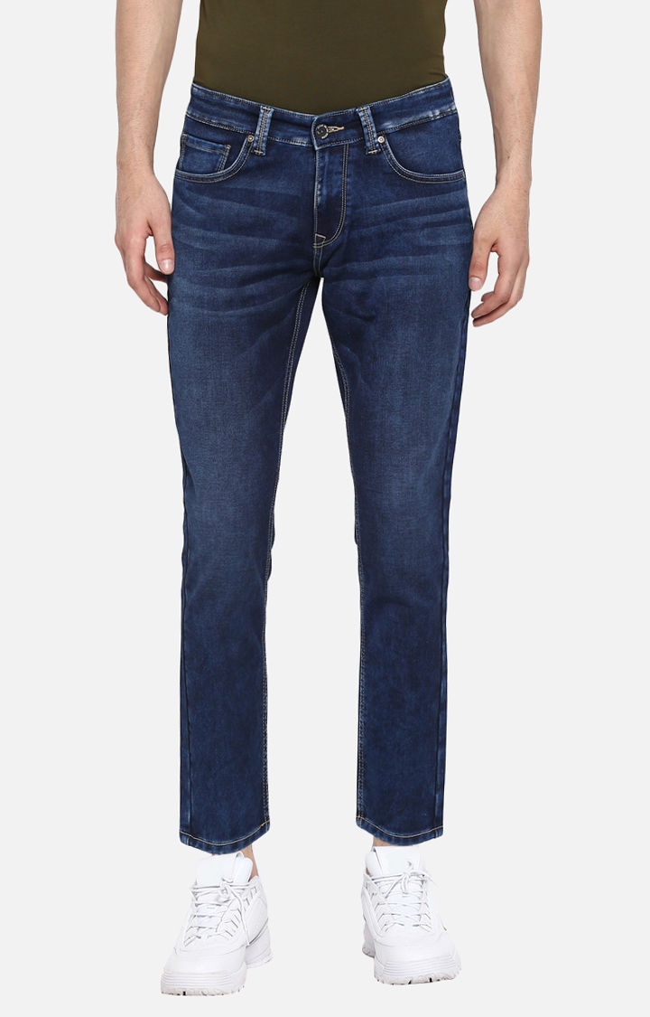 Dark Blue Solid Slim Thigh Ankle Length Fit Jeans