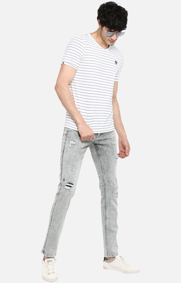 Grey Ripped Skinny Fit Jeans