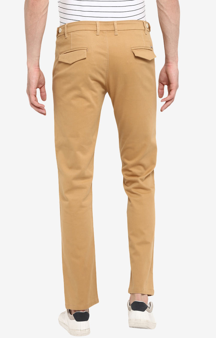 Khaki Solid Slim Fit Chinos