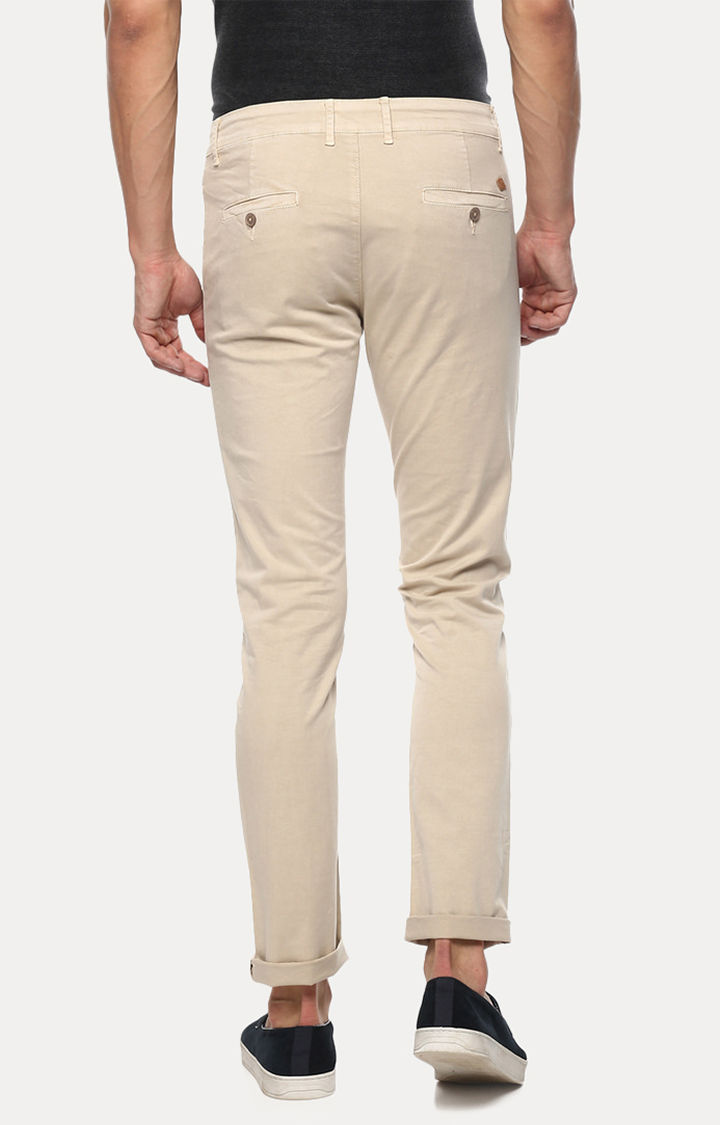Beige Solid Slim Fit Chinos