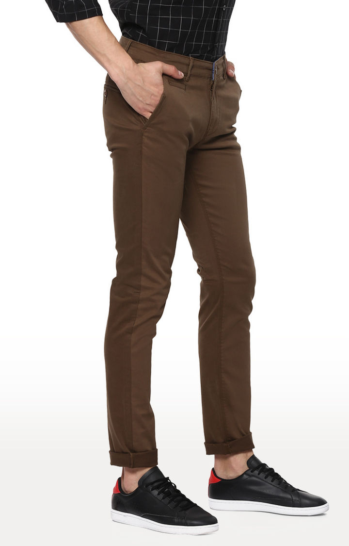Green Solid Slim Fit Chinos