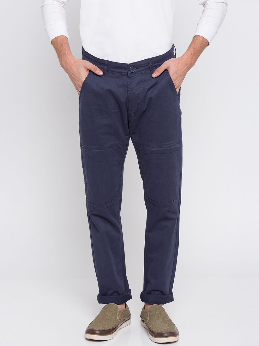Blue Solid Slim Fit Chinos