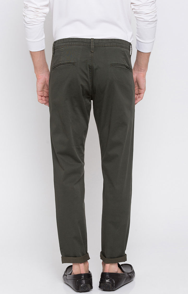 Bottle Green Solid Slim Fit Chinos