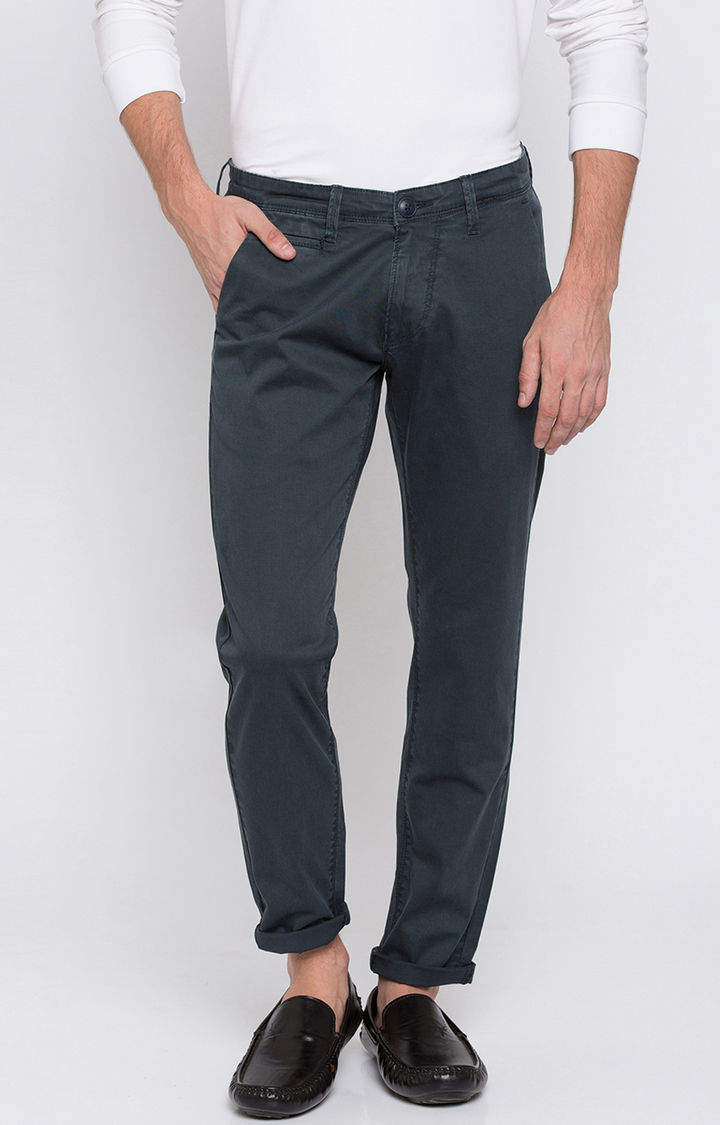 Petrol Solid Slim Fit Chinos
