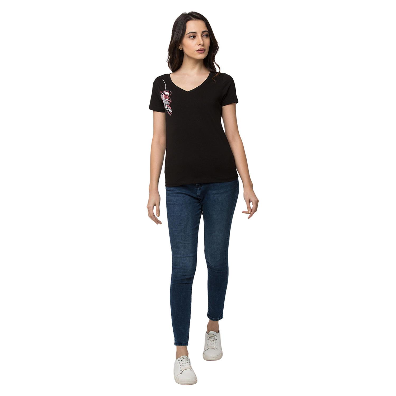 Spykar Cotton Black T-Shirts