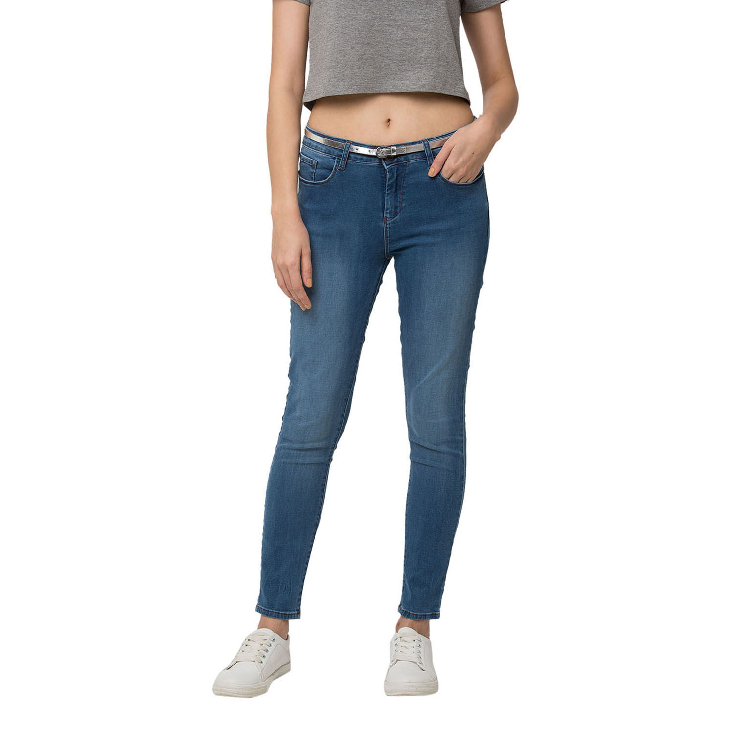 SPYKAR Mid Blue Cotton SKINNY JEANS