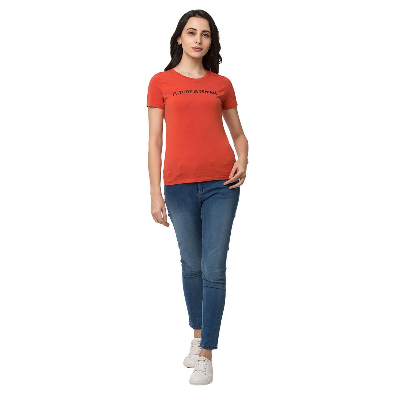 Spykar Cotton orange T-Shirts