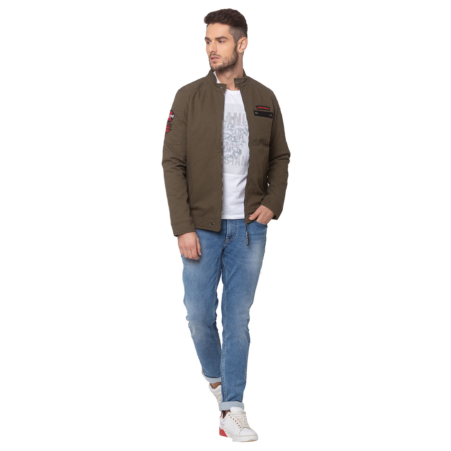 SPYKAR Olive COTTON STRAIGHT FIT JACKETS