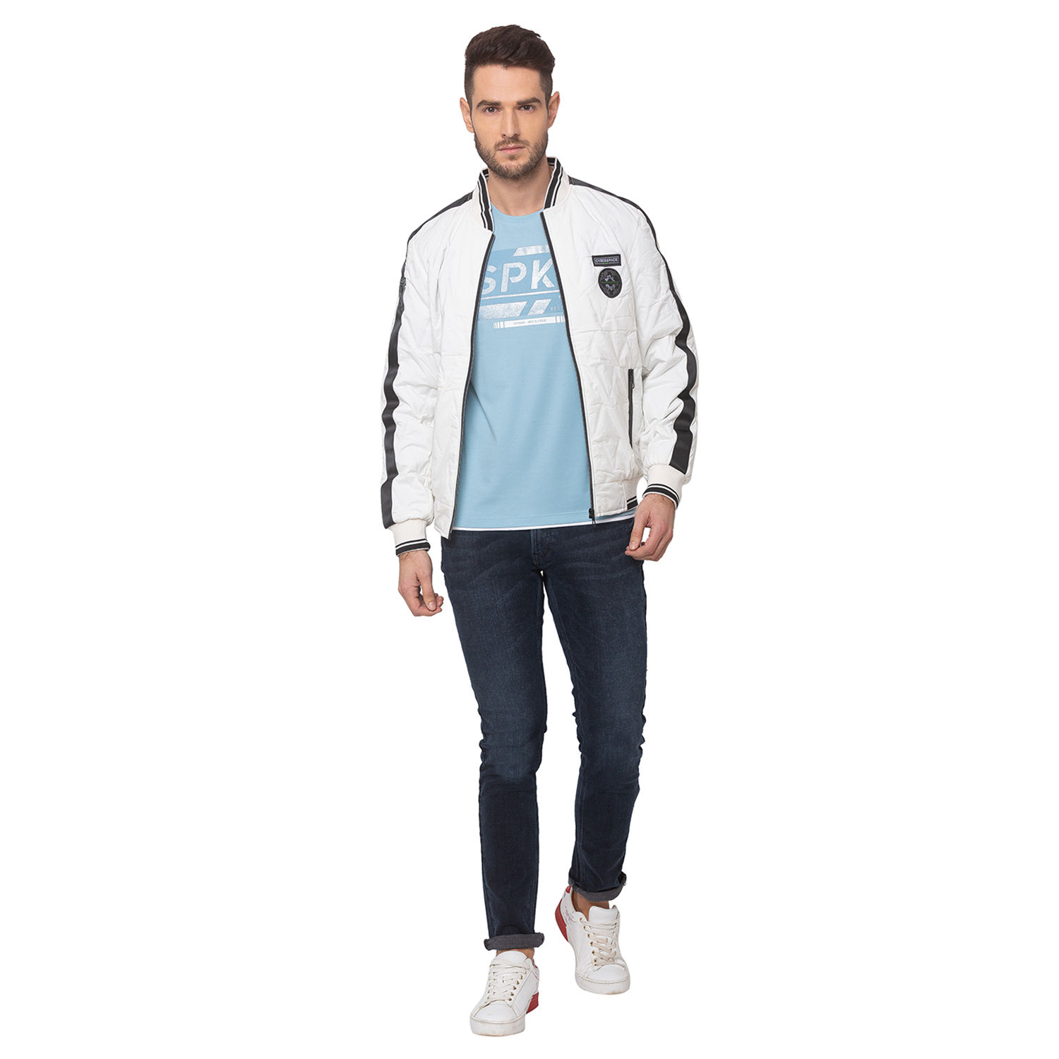 SPYKAR White POLYESTER STRAIGHT FIT JACKETS