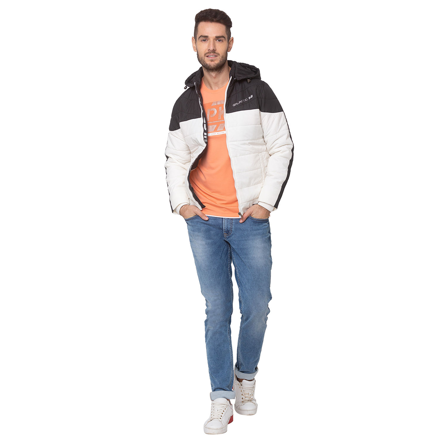 SPYKAR Black NYLON STRAIGHT FIT JACKETS