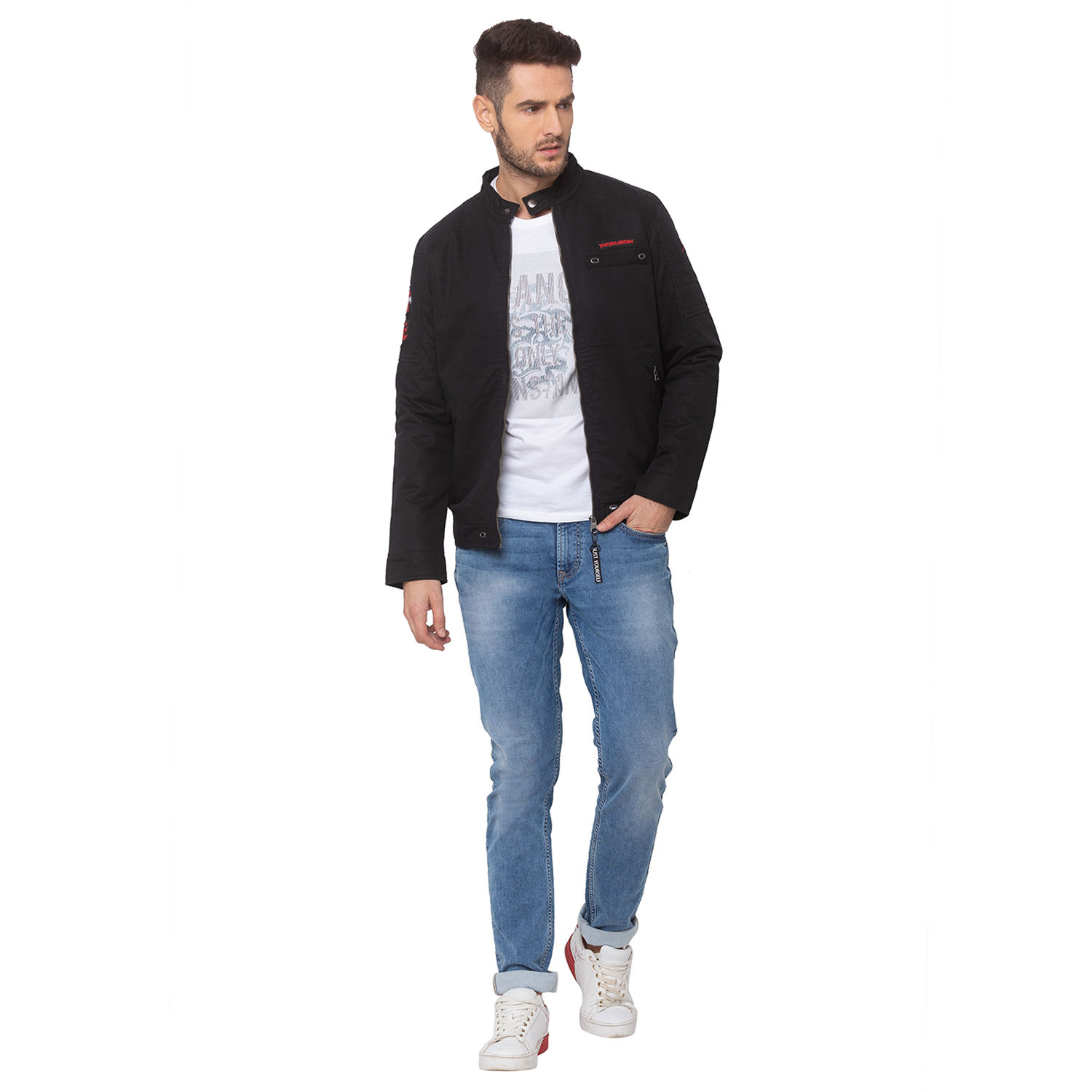 SPYKAR Black COTTON STRAIGHT FIT JACKETS