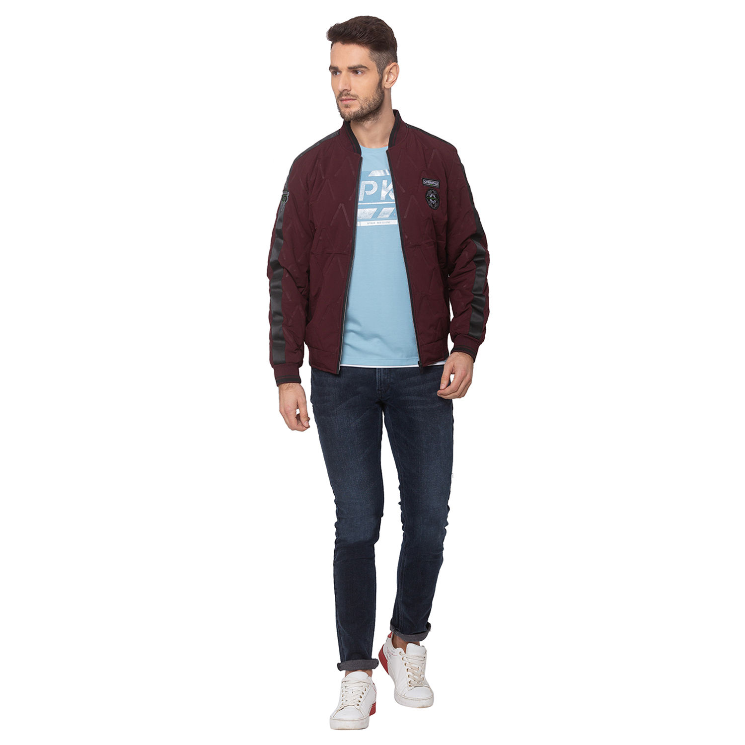 SPYKAR Wine POLYESTER STRAIGHT FIT JACKETS