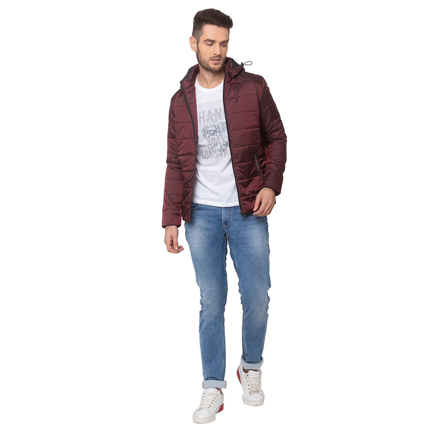 SPYKAR Wine NYLON STRAIGHT FIT JACKETS