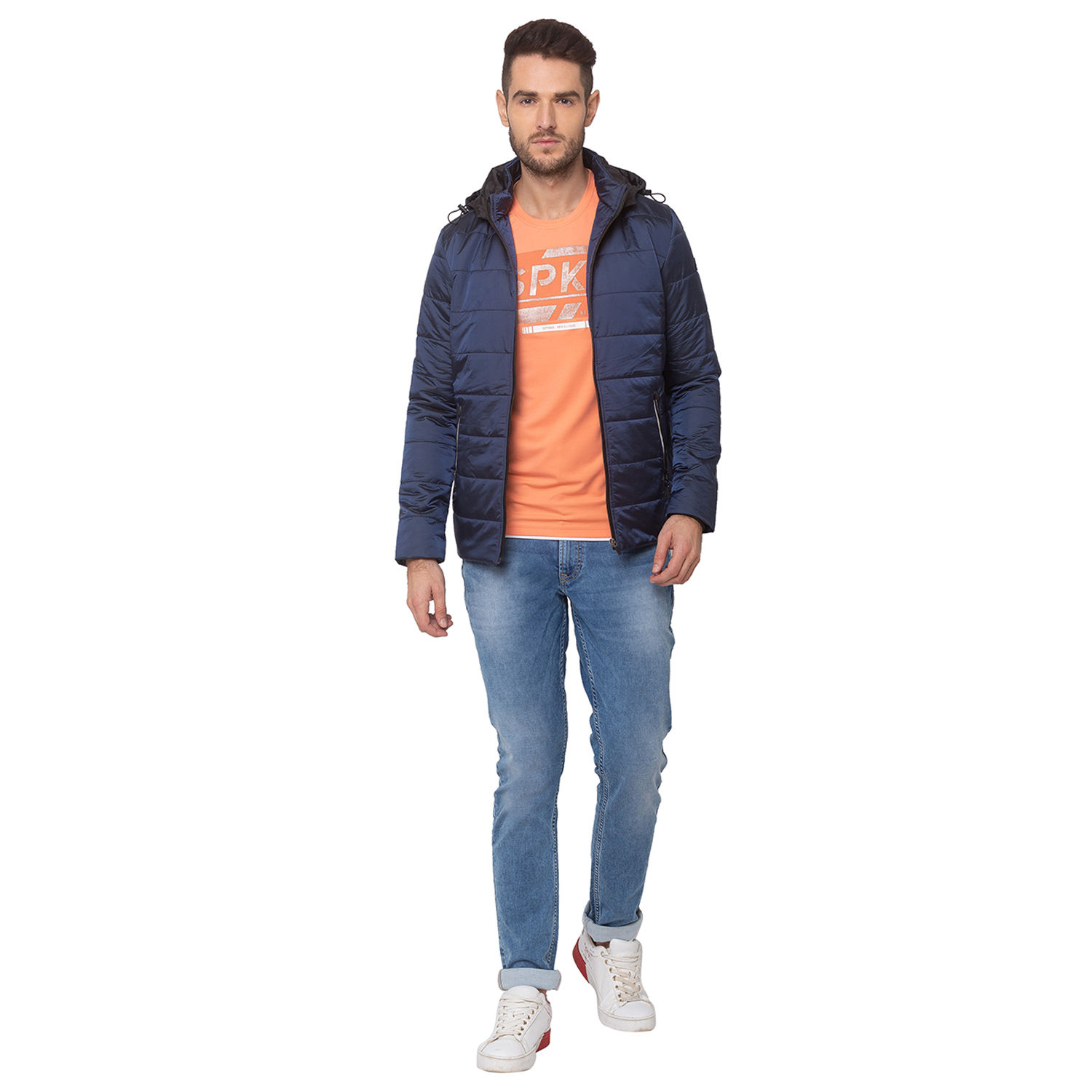 SPYKAR CARBON BLUE NYLON STRAIGHT FIT JACKETS