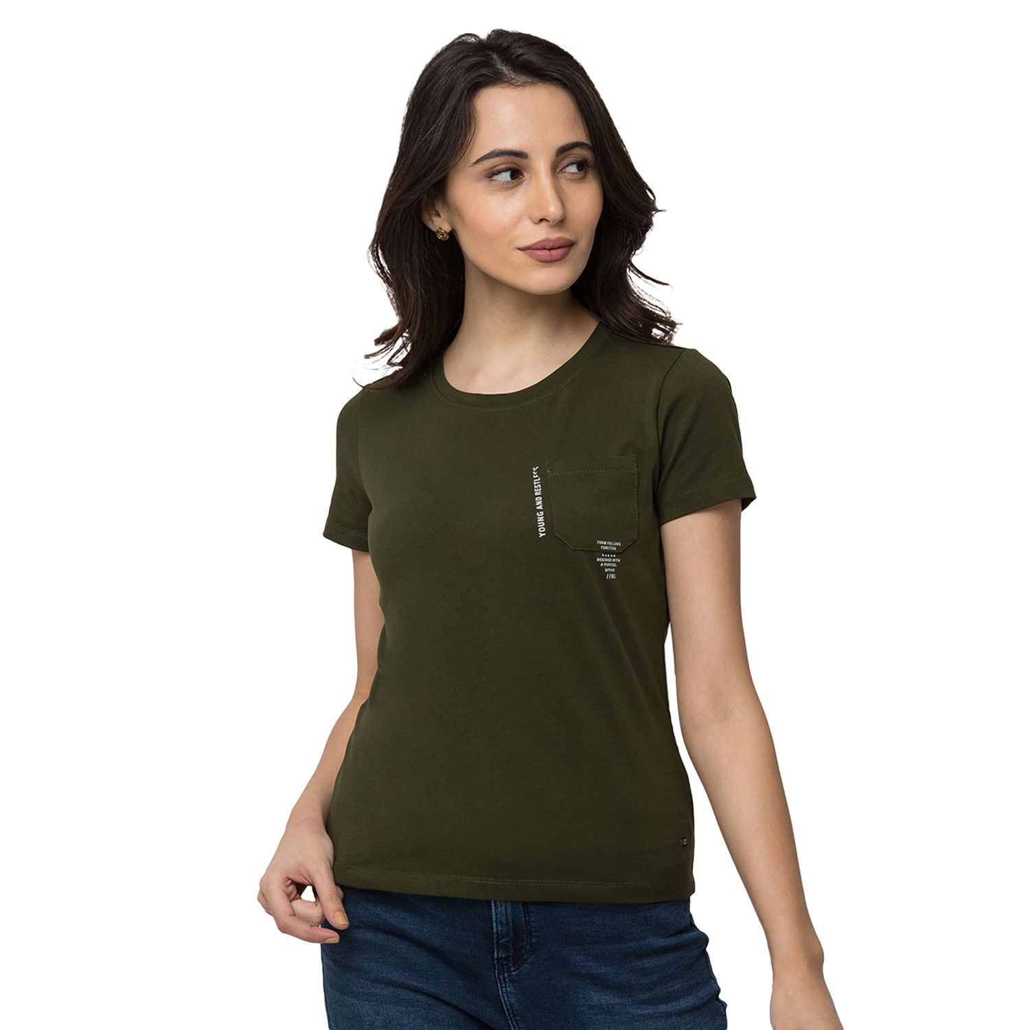 SPYKAR Olive Lycra jersey Regular Length T SHIRTS