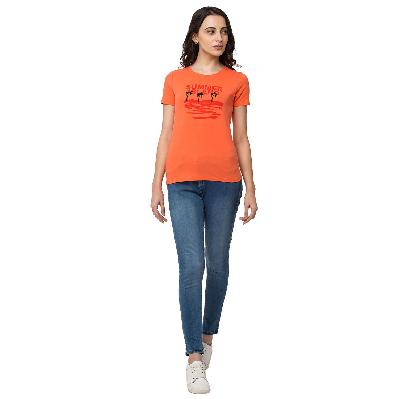 SPYKAR Orange Lycra jersey Regular Length T SHIRTS