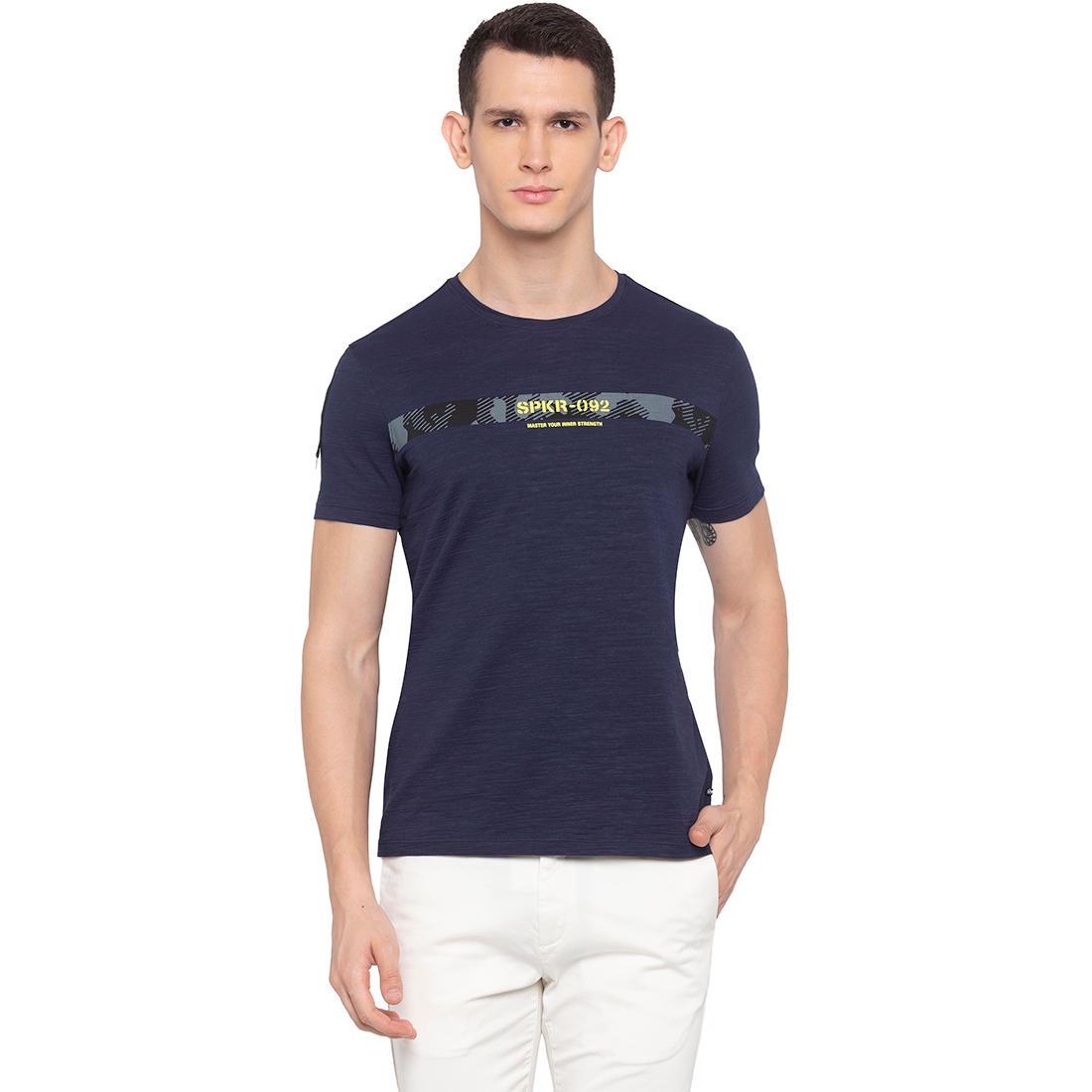 SPYKAR Navy Blended Slim Fit T-SHIRTS