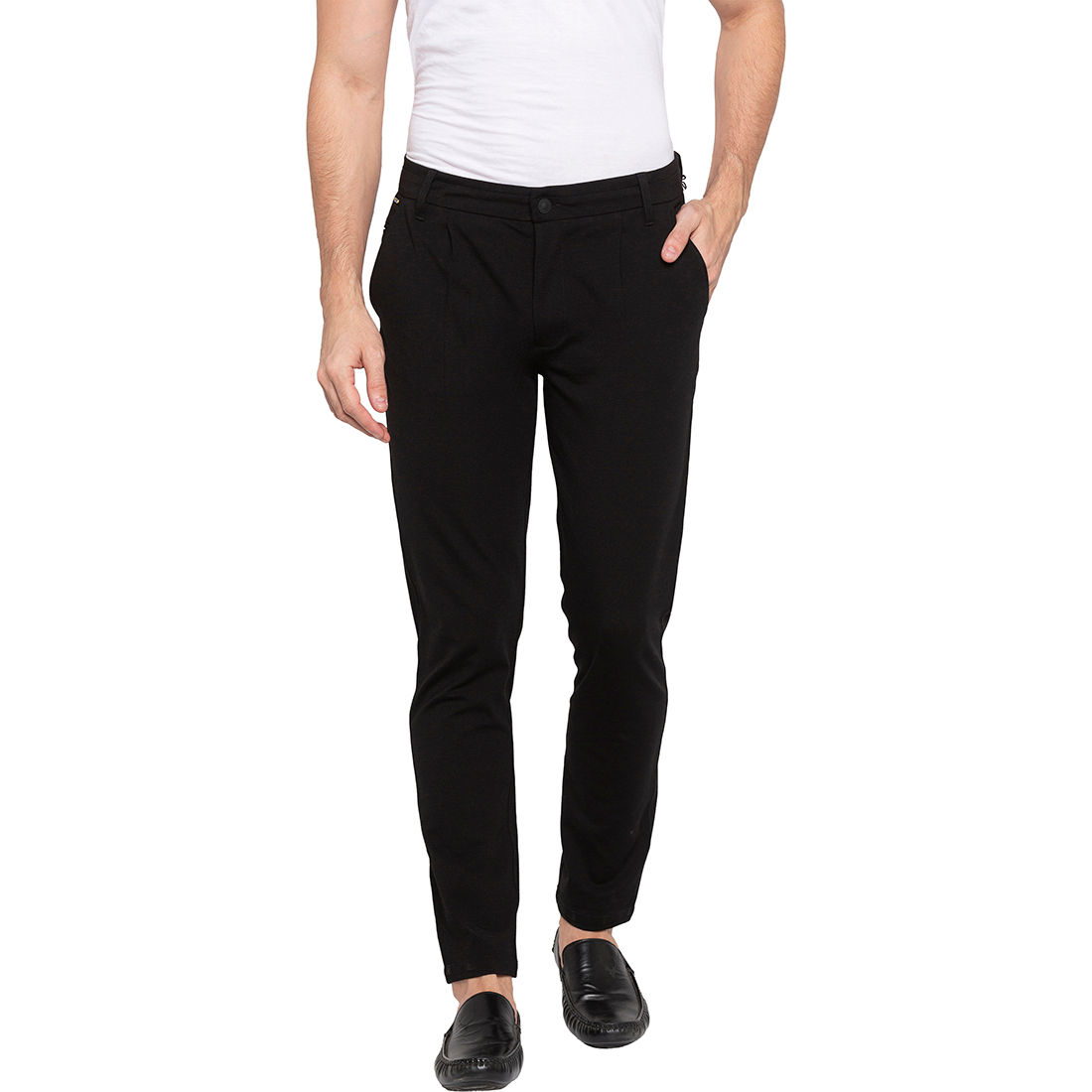 Spykar Black Polyester Slim Fit Trousers