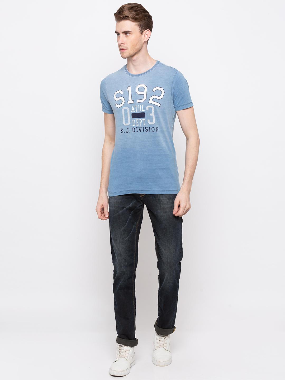 Light Indigo Printed Slim Fit T-Shirts