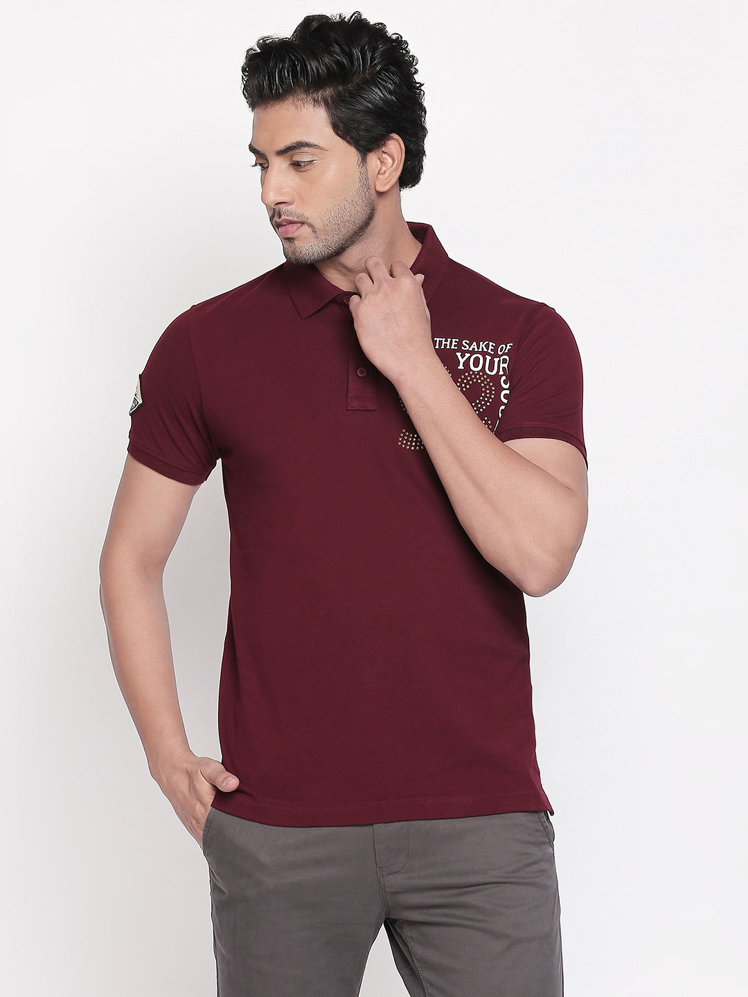 Wine Printed Slim Fit Polo T-Shirt
