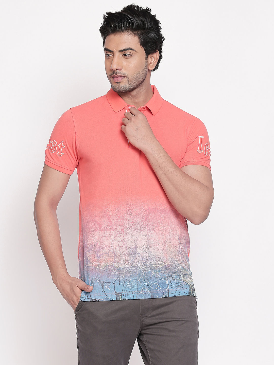 Coral Colourblock Slim Fit Polo T-Shirt