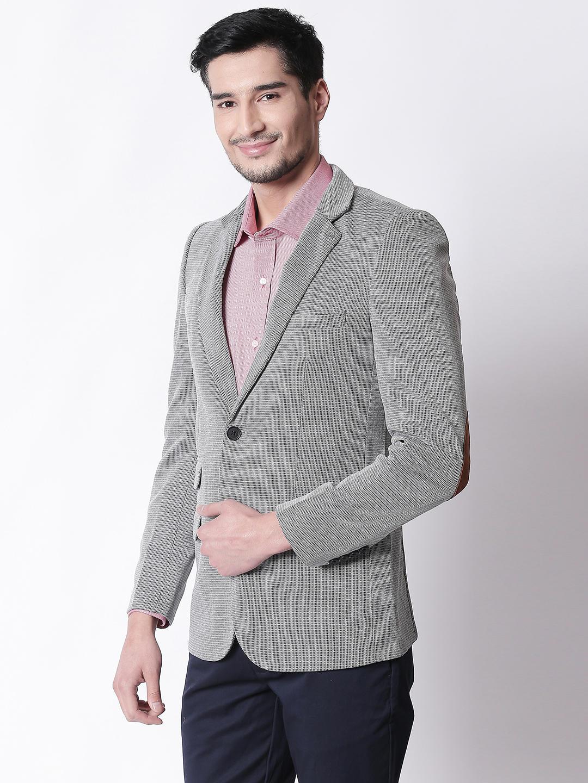 Dark Grey Printed Slim Fit Blazer