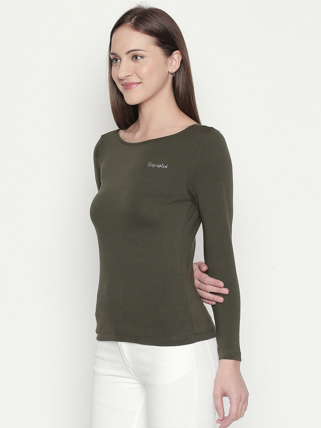 Olive Solid Slim Fit T-Shirts