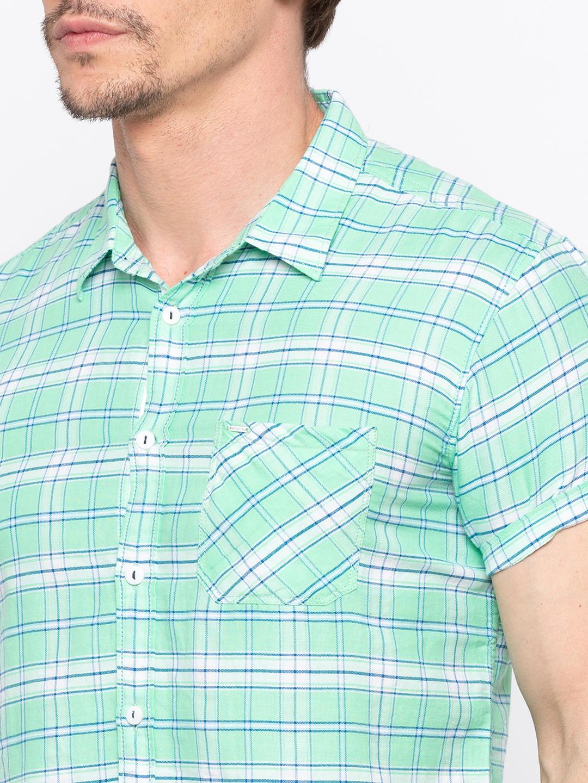 Sea Green Checked Casual Shirt