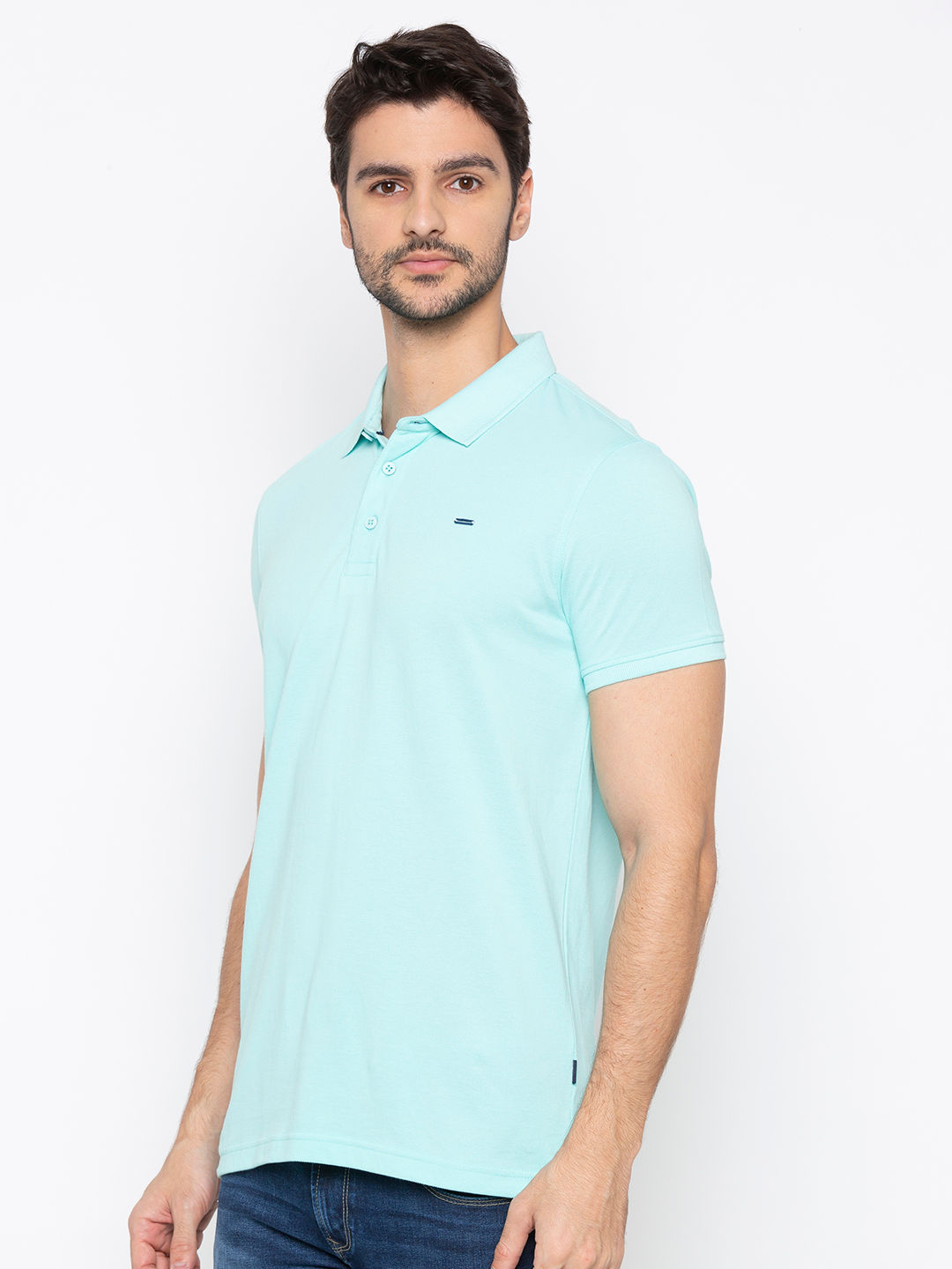 Aqua Solid Polo T-Shirt