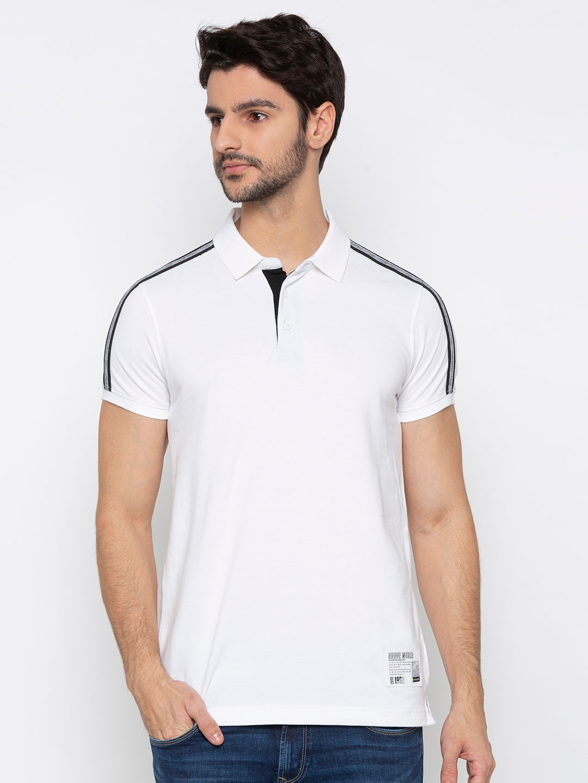 Spykar White Solid Polo T-Shirt