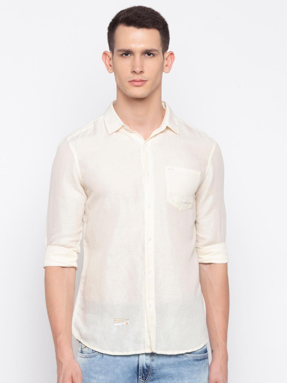 Ecru Solid Casual Shirt