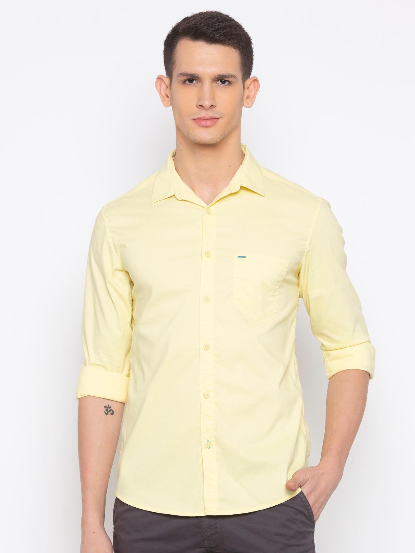 Lemon Yellow Solid Casual Shirt