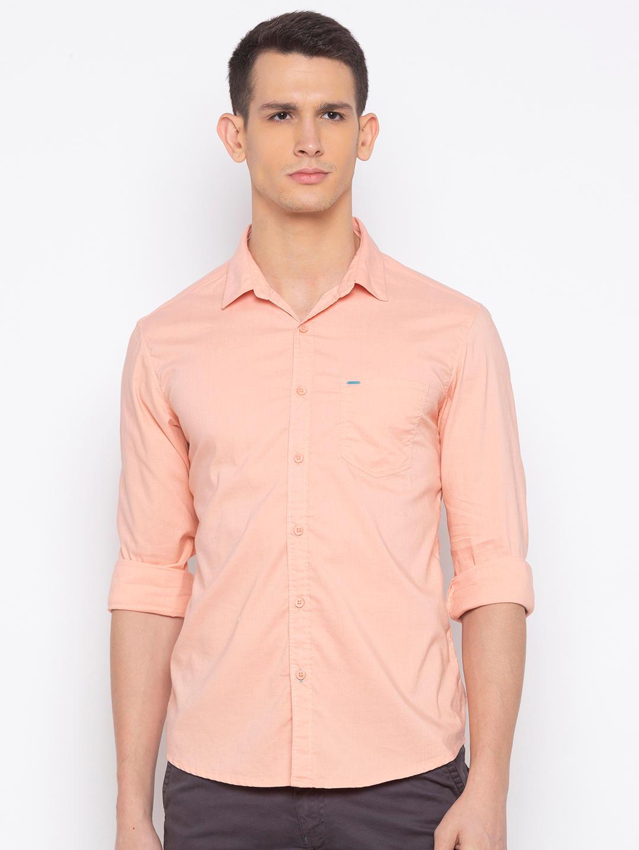 Spykar Peach Solid Casual Shirt