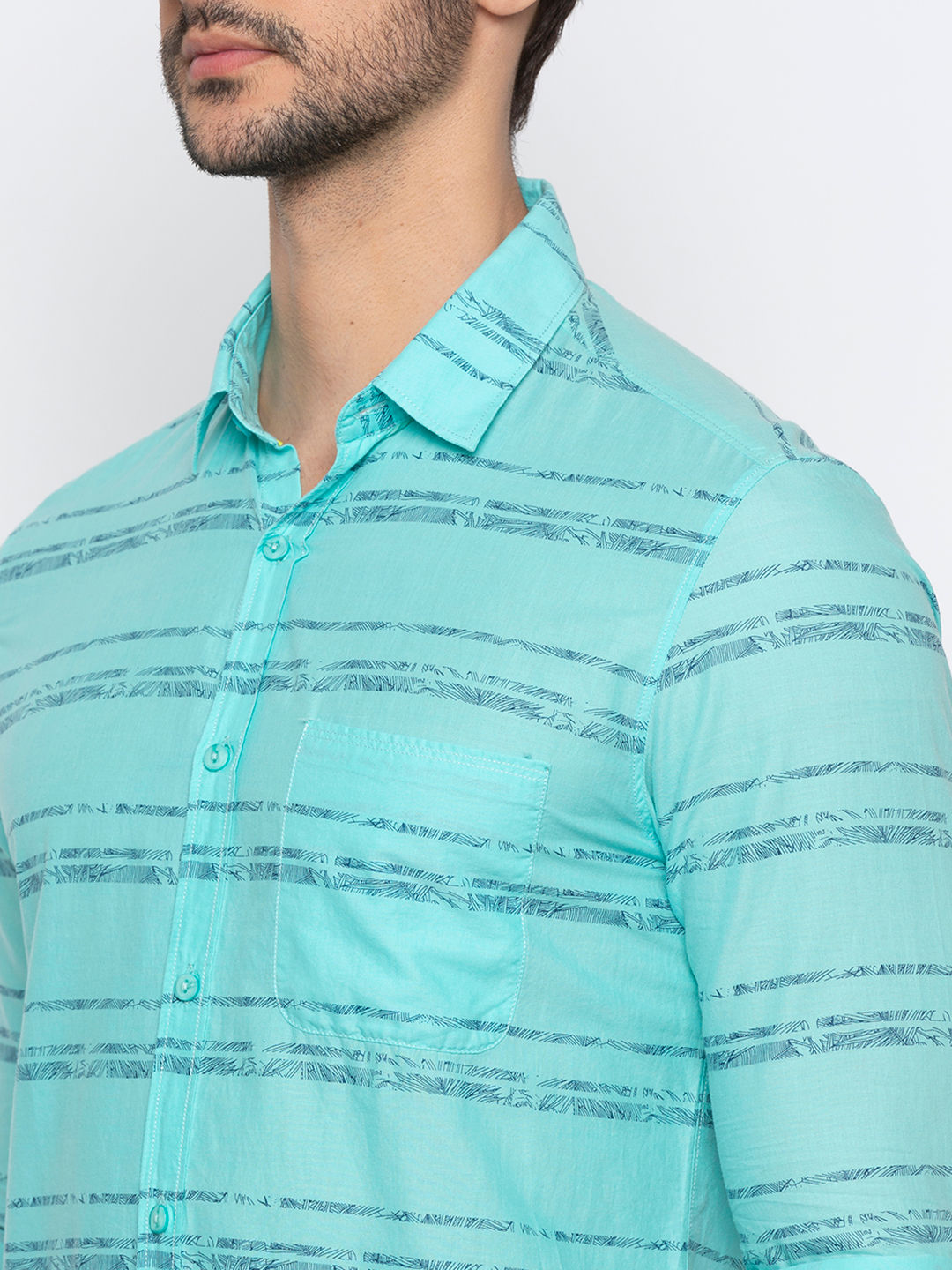 Turquoise Striped Casual Shirt
