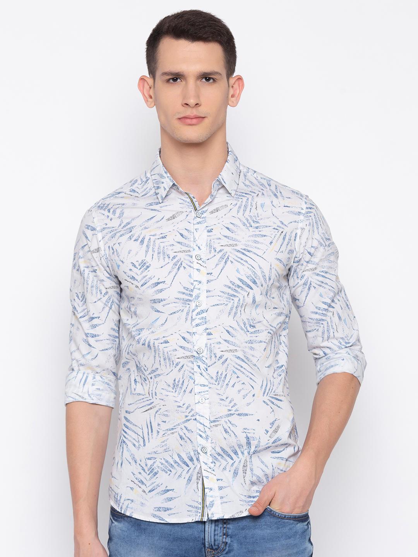 White Printed Slim Fit Casual Shirt