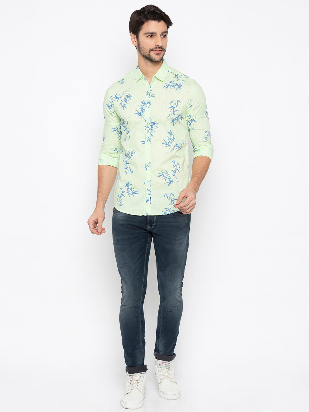 Lime Green Printed Slim Fit Casual Shirt