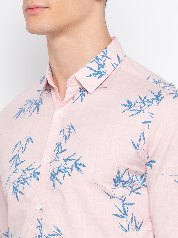 Pink Printed Slim Fit Casual Shirt