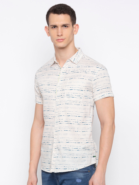 Ecru Printed Slim Fit Casual Shirt