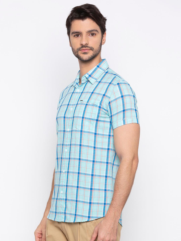 Aqua Checked Slim Fit Casual Shirt