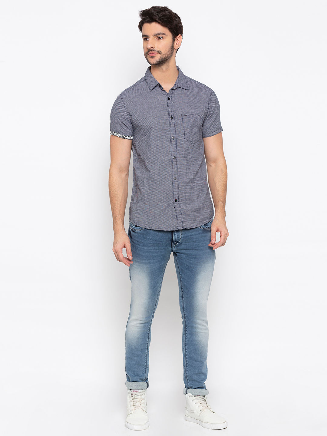 Navy Checked Slim Fit Casual Shirt