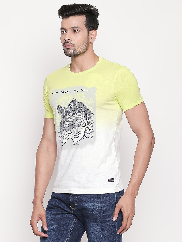 Lime Green Printed Slim Fit T-Shirt