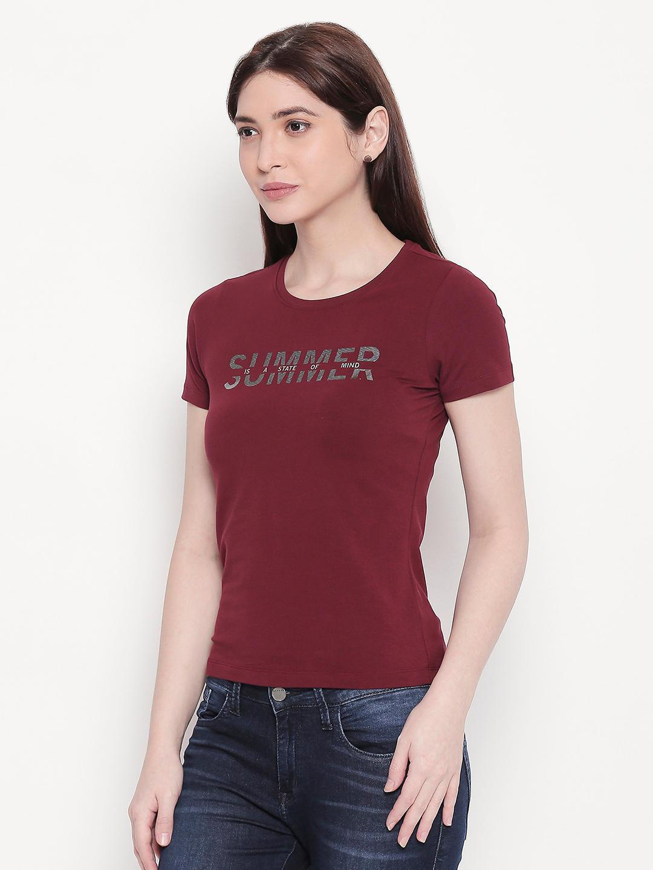 Deep Wine Typography Print T-shirt
