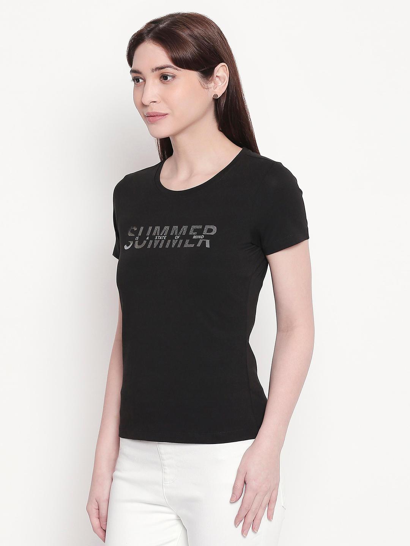 Black Typography Print T-shirt