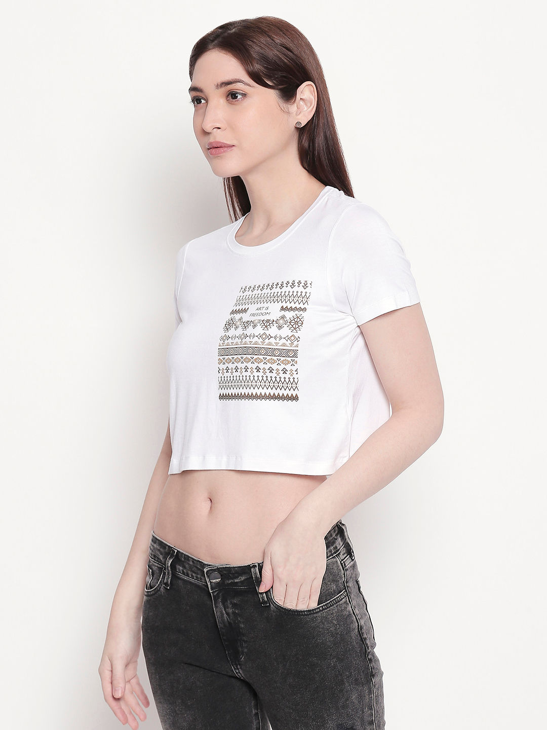 White Printed Crop Fit T-shirt