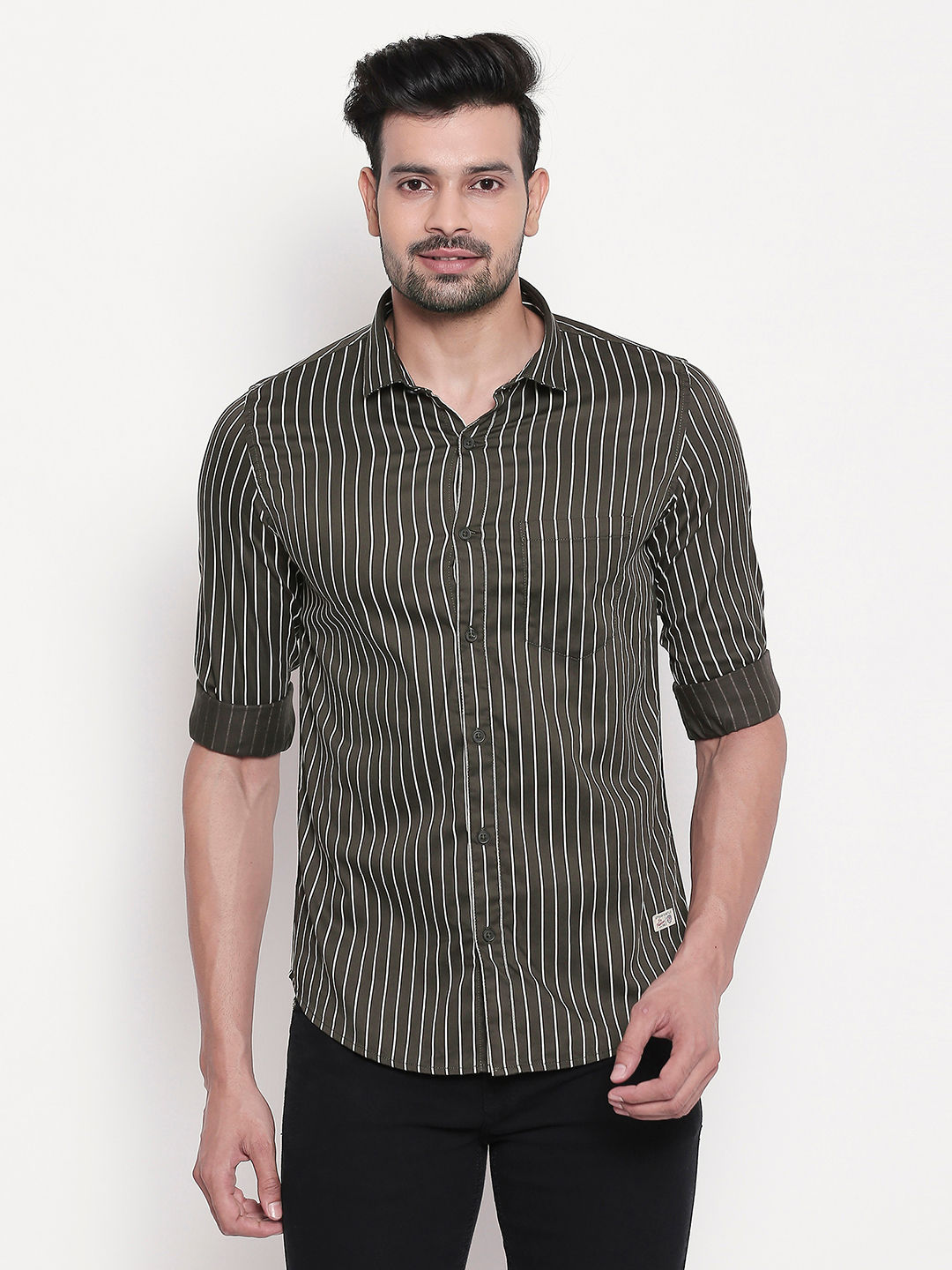 Olive Striped Regular Slim Fit Shirt
